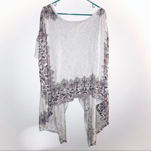 Free People Gray Floral Sweater Poncho